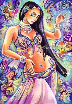 Belly Dance Art, Belly Dance Painting, Dancing Woman, Eastern Dance, Harem, Scheherazade, Wall Decor, Poster Print - Art Print 13x19. $26.00, via Etsy.