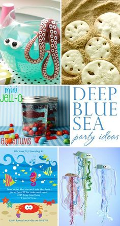 Fabulously creative deep blue sea birthday party ideas! Sand dollar cookies, octopus punch, jellyfish crafts, and more! - Click image to find more Kids Pinterest pins