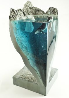 Resin and Wood Sculpture, Ocean Sculpture, Whale in the Ocean, Iceberg and Whale Sculpture Epoxy Resin Table, Epoxy Resin Art, Wood Resin, Diy Resin Art, Diy Resin Crafts, Diy Crafts To Sell, Stick Crafts, Wood Sculpture, Sculptures
