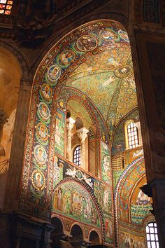 Mosaic paradise:  The old Ostrogothic capital Ravenna, Italy is a jewel of mosaic art from the 5th and the 6th centuries. Eight sites in the city are registered on the World Heritage List. One of them is Basilica of San Vitale, finished in 546.  by Guenther