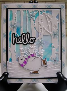 Polar+Bear+Hello - Scrapbook.com Bear Card, Scrapbook Cards, Scrapbooking, Winter Crafts For Kids, Mft Stamps, Stamping Up Cards, Winter Cards, Card Sketches, Christmas Cards