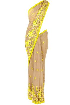 Hemna yellow lace sari available only at Pernia's Pop-Up Shop.