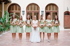 Pale Green Bridesmaid Dresses via Every Last Detail | Photographer: Shea Christine / Reception Venue: The Addison / Flowers & Decor: J.Morgan Flowers / Invitations & Stationery: Wedding Paper Divas / Entertainment: Center Stage Entertainment
