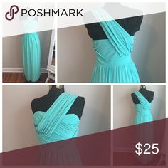 Long Teal Over the Shoulder Grecian Style Dress Grecian Style Wrap Detail ASOS Dresses