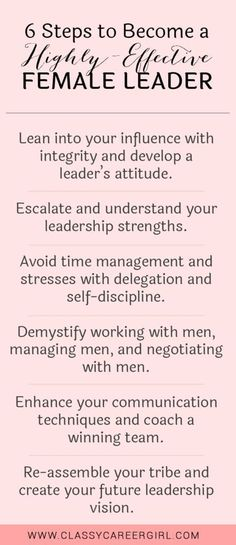 Career infographic & Advice 6 Steps to Become a Highly-Effective Female Leader list. Image Description 6 Steps to Become a Highly-Effective Female Leadership Strengths, Women In Leadership, Leadership Coaching, Leadership Activities, Life Coaching, Student Leadership, Group Activities, Coaching Quotes, Servant Leadership