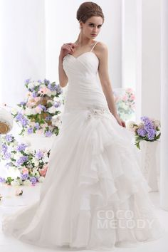 New Design A-Line Spaghetti Strap Court Train Organza Wedding Dress CWLT130C1