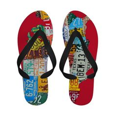 8dbf0efb7d19f9 License Gifts on Zazzle. Women s License Plate Map of the USA Flip Flops ...