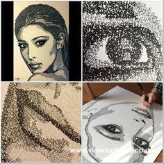 Numbers portrait of Belen Rodriguez on paper 70x50