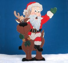 Santa Riding Reindeer Woodcraft Pattern Santa has found a new form of transportaion! #diy #woodcraftpatterns