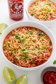 Spicy Sriracha Ramen Noodle Soup (Video) Easy Homemade Ramen Noodle Soup ready in just 20 minutes!Easy Homemade Ramen Noodle Soup ready in just 20 minutes! Spicy Recipes, Asian Recipes, Soup Recipes, Vegetarian Recipes, Cooking Recipes, Healthy Recipes, Keto Recipes, Vegetarian Ramen, Spicy Ramen Recipe