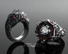 Hombres 2ct diamante y Rubí de 133 ct cóctel o por DeMerJewelry