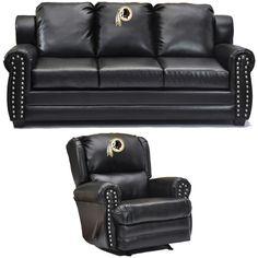 Washington Redskins NFL Coach Leather Furniture Set. Visit SportsFansPlus.com for discount coupon.