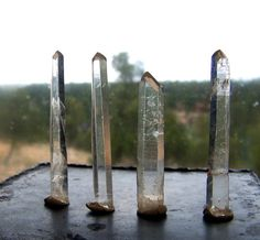 4 LONG Natural Quartz crystals - 3  inch long clear seed crystal -raw rough lot of crystal points singers -  large wire wrap pendant size