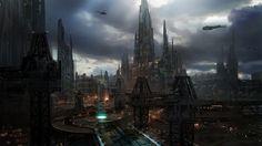 Sci-fi city scape concept art  - class demo, James Paick on ArtStation at https://www.artstation.com/artwork/Xa9La