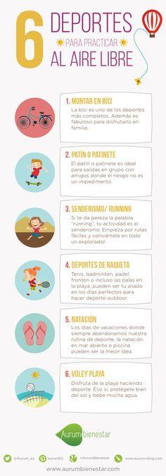 En Aurum Bienestar hemos preparado una infografía con algunos deportes para practicar al aire libre. Disfruta del bueno tiempo haciendo ejercicio.