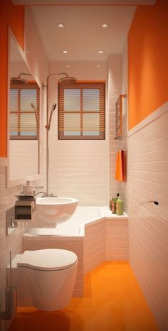 Orange Bathrooms, Tiny Bathrooms, Tiny House Bathroom, Modern Bathroom, Small Bathroom, Bathroom Sinks, Bathroom Ideas, Square Bathtub, Small Bathtub