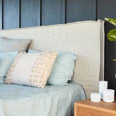 Home Decor Ikea Linen Bedhead with Slipcover Zara Home, Master Suite, Bed Linen Australia, Living Room Decor, Bedroom Decor, Blue Bedroom, Master Bedroom, Ikea, Bed Linen Design