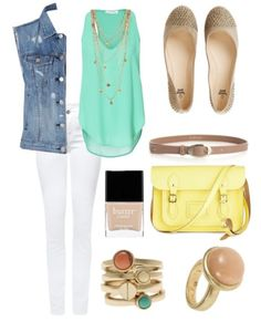 Summer #whitejeans #summer #fashion #yellow #mint #vest #sleevless