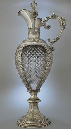 Fantastic tall crystal glass and silver wine jug/decanter by Meyen & Co, Berlin c. 1880