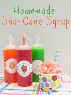 Homemade Snow Cone Syrup Recipe In Custom Decorated Bottles (decorated bottle fun) Sno Cone Syrup Recipe, Snow Cone Syrup, Syrup Recipes, Sweets Recipes, Frozen Desserts, Frozen Treats, Sno Cones, Custom Bottles, Sweet Sauce