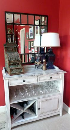 Furniture upcycle to a wine bar! Im looking for something like this right now going to be my coffee bar too! Furniture upcycle to a wine bar! Refurbished Furniture, Repurposed Furniture, Furniture Makeover, Painted Furniture, Goodwill Furniture, Dresser Repurposed, Farmhouse Furniture, Furniture Stores, Diy Bar