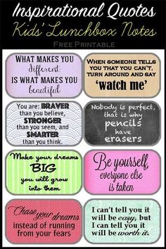 Wonderful printable lunchbox notes.  Include them in your child's lunch box and let them know you are thinking of them.. and that you believe in them!