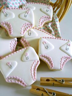 Baby diapers cookies~ By Clough'D 9 Cookies Sweets on Facebook, white, baby pins                                                                                                                                                      More