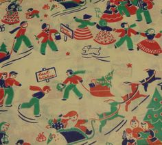 Vintage Christmas Wrapping Paper Holiday Festivities | eBay