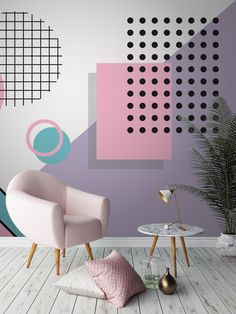 Love love love the pastel colours in this memphis wallpaper design. Girly pinks are offset by a pastel purple, all brought together by playful shapes. Accessorise with baby pinks and an array of textures to finish the look.