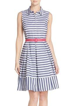 Womens Eliza J Stripe Cotton Fit  Flare Shirtdress Size 16 - Ivory $82.80 AT vintagedancer.com