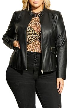 Looking for City Chic Topstitch Detail Faux Leather Biker Jacket (Plus Size) ? Check out our picks for the City Chic Topstitch Detail Faux Leather Biker Jacket (Plus Size) from the popular stores - all in one. Plus Size Leather Jacket, Forever 21 T Shirts, Fashion Courses, Midi Dress With Sleeves, City Chic, Plus Size Blouses, Plus Size Women, Plus Size Fashion