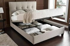 Kaydian Walkworth Ottoman Bed - Oatmeal | Ottoman Beds at Bedworld - Free Delivery