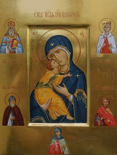 Владимирская икона Божией Матери со святыми 23x35 cm www.ikona-skiniya.com