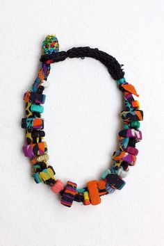 Colorful rustic necklace, fiber and textile statement jewelry with bamboo beads…