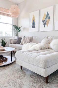 Design Living Room, Cozy Living Rooms, Home And Living, Modern Living, Living Room Apartment, White Apartment, Apartment Sofa, Living Room Decor With Grey Couch, White Sofa Decor