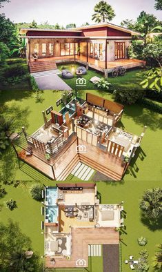 Modern Style Home Design with 2 Bedrooms - Sims House Plans, House Layout Plans, House Layouts, Modern Bungalow House, Modern House Plans, Small House Plans, Modern Small House Design, Tiny House Design, One Storey House