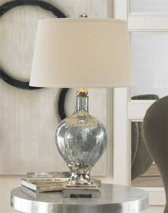 Mercury Blue glass table lamp, home, decor, accessories, lamps, lighting.
