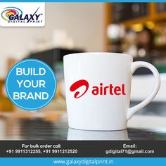 Let your coffee mug exhibit your brand.  For bulk orders contact us at gdigital71@gmail.com  #CustomPrinting #CustomMerchandise Order Contacts, Mug Printing, Bulk Order, Exhibit, Coffee Mugs, Tableware, Prints, Fashion, Dinnerware