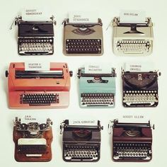 Here are typewriters used by some of the most famous writers and storytellers of the last century. The oldest typewriter is J. Tolkien's early Hammond typewriter. A bit of in… Tolkien, Ernst Hemingway, Vintage Magazine, Vintage Typewriters, Vintage Suitcases, Vintage Luggage, Vintage Cameras, Vintage Photos, Tumblr