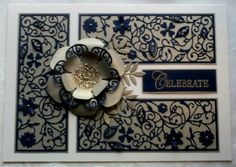Tattered Lace lavish blooms poppy dies with foliage & free magazine floral panel in navy blue card on soft gold pearl card blank from Anna Marie Designs
