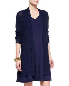Eileen Fisher Ribbed Washable Organic Linen Cardigan, Midnight