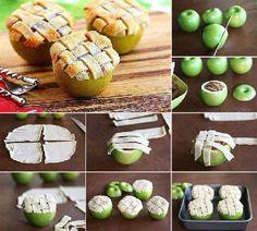 Apple pie in an apple! BRILLIANT! ÷¬ Recipe is at http://fd.cm/1lLqvkC