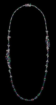 Cartier High Jewelry Necklace: platinum, sapphire, ruby and emerald beads, sapphire and emerald carved leaves, brilliants Cartier Jewelry, Gems Jewelry, High Jewelry, Luxury Jewelry, Pearl Jewelry, Cartier Necklace, Lotus Jewelry, Jewelry Box, Sapphire Necklace