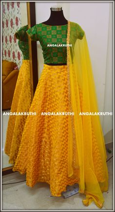 top and lehenga design by Angalakruthi and kids designer boutique in Bangalore Custom designs with online order placement service by Angalakruthi (Crop Top Lehenga) Kids Blouse Designs, Crop Top Designs, Choli Designs, Lehenga Designs, Kids Lehenga Choli, Lehenga Blouse, Anarkali, Long Frocks For Girls, Frock Models