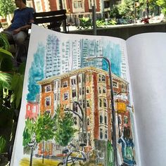A nice sunny day in downtown Vancouver after my half-day shift at work. 😎 I've always wanted to sketch thus vintage building on Melville St. And Bute, and today I finally got the chance.  However, all of my pens were out of ink, and I had to sketch with my cheap mechanical pencil. The result looks so different from my pen sketches! 😆🎨📒 Cheap mechanical pencil and Sakura Koi watercolors on Crescent sketchbook, 60 minutes.  #caobeckysketch #worldwatercolormonth