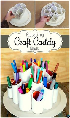 DIY Rotating Lazy Susan Tutorials Home Organization: use lazy Susan for dinning, small spaces, cabinets, under cabinets, office and craft room. Paper Roll Crafts, Diy Paper, Diy And Crafts, Crafts For Kids, Diy Lazy Susan, Desk Organization Diy, Organising, Pvc Projects, Cardboard Crafts