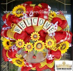 Welcome Sunflower Pot Mesh Wreath by lilmaddydesigns on Etsy, $95.00