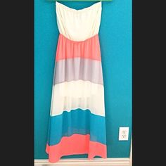 """Strapless spring/summer maxi dress A color blocked pink, blue, grey and white maxi dress, perfect for summer or spring. Chiffon type fabric. Worn once for an event small flaw shown in last pic. Size small, length 46"""". Dresses Maxi"""