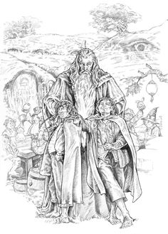 "Pippin y Merry by NachoCastro.deviantart.com on @deviantART - Gandalf with Merry and Pippin from ""Lord of the Rings"""