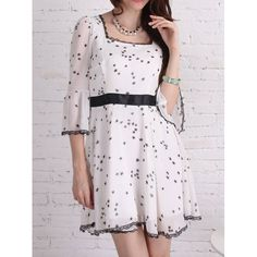 Women's Graceful Star Print Floral Edge Color Matching 3/4 Sleeves Dress, WHITE, M in Vintage Dresses | DressLily.com